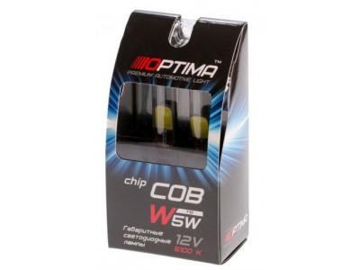 Светодиодная лампа Optima Premium W5W COB CAN BUS 12V 5100К с обманкой