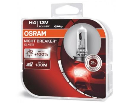 Галогенные лампы Osram Night Breaker Silver +100% H4 12v 60/55w 64193nbshcb