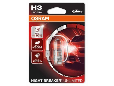 Галогенные лампы Osram Night Breaker Unlimited +110% H3 12v 55w 64151nbu