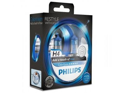 Галогенные лампы Philips Color Vision H4 (голубые) 12v 60/55w 12342cvpbs2