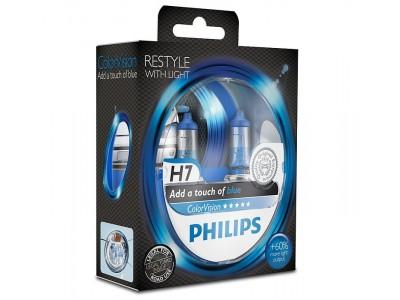 Галогенные лампы Philips Color Vision (голубые) H7 12v 55w 12972cvpbs2