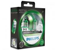 Галогенные лампы Philips Color Vision (зеленые) H4 12v 60/55w 12342cvpgs2