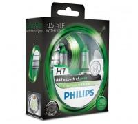 Галогенные лампы Philips Color Vision (зеленые) H7 12v 55w 12972cvpgs2