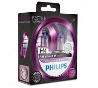 Галогенные лампы Philips Color Vision (фиолетовые) H4 12v 60/55w 12342cvpps2