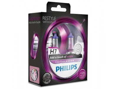 Галогенные лампы Philips Color Vision (фиолетовые) H7 12v 55w 12972cvpps2
