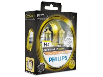 Галогенные лампы Philips Color Vision (желтые) H4 12v 60/55w 12342cvpys2
