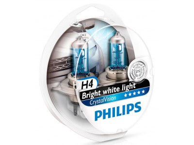 Галогенные лампы Philips Crystal Vision 4300k H4 12v 60/55w 12342cvsm
