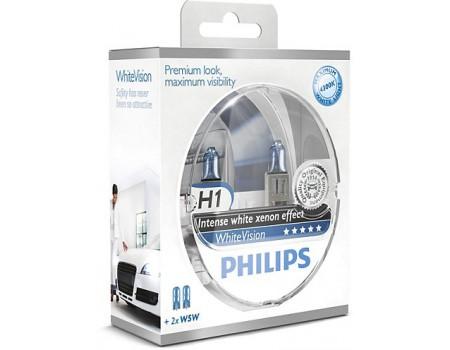 Галогенные лампы Philips White Vision +60% 4300k H1 12v 55w 12258whvsm