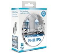 Галогенные лампы Philips White Vision +60% 4300k H4 12v 60/55w 12342whvsm