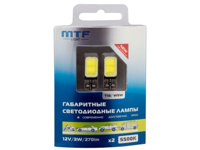 Габаритные светодиодные лампы MTF Light W5W COB 5500K