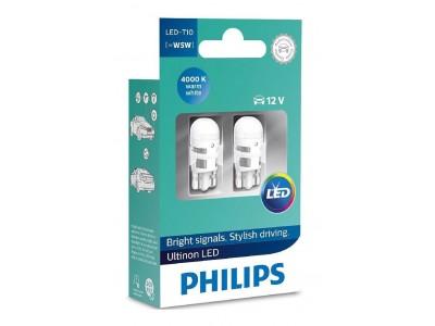 Габаритные светодиодные лампы Philips W5W T10 Ultinon LED 4000k 12v 11961ulw4x2