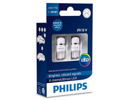 Габаритные светодиодные лампы Philips W5W t10 X-treme Vision 6000k 12v 127996000kx2