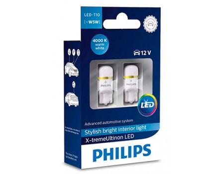 Габаритные светодиодные лампы Philips W5W t10 X-treme Vision 4000k 12v  127994000kx2