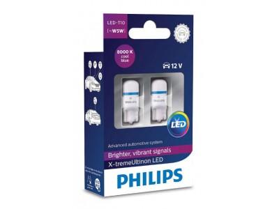 Габаритные светодиодные лампы Philips W5W t10 X-treme Vision 8000k 12v  127998000kx2