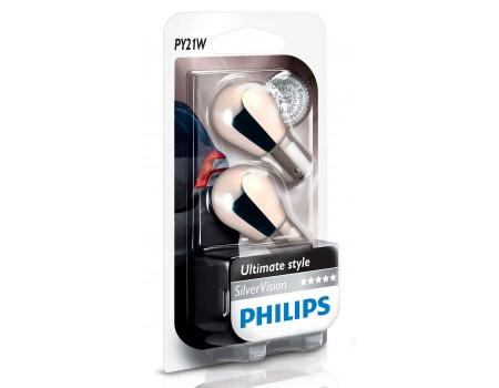Лампа поворотника Philips Silver Vision PY21W 12v 12496svs2 (хромированная) к-т